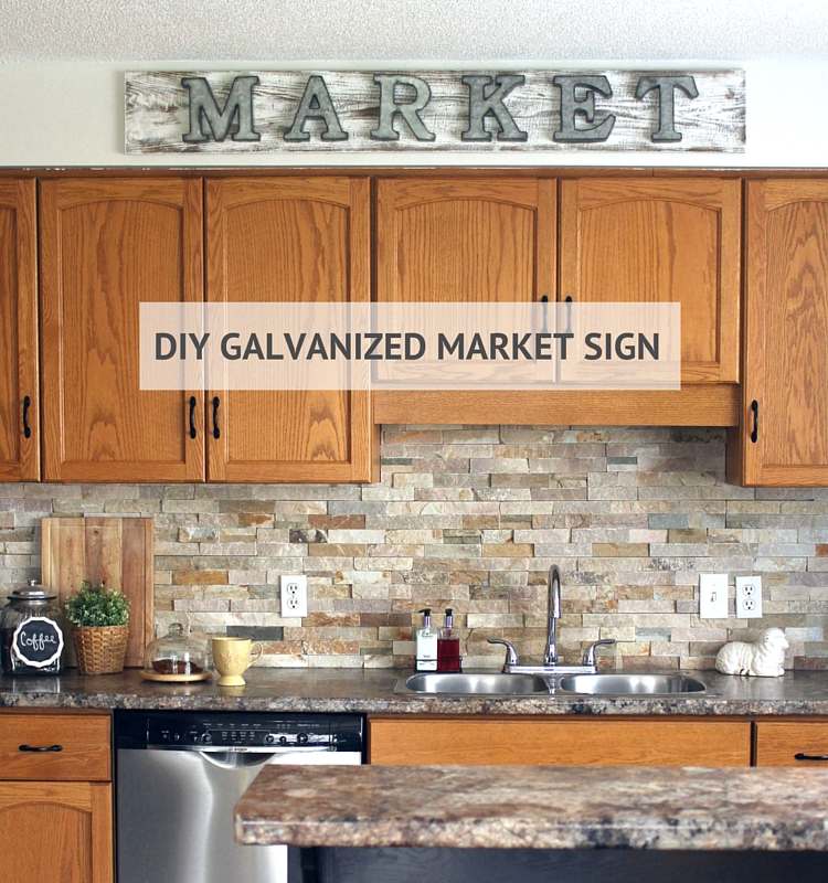 Learn how to make a galvanized market sign in just a few easy steps. Also step-by-step tutorial on how to make wood look aged and weathered . Click to read more!