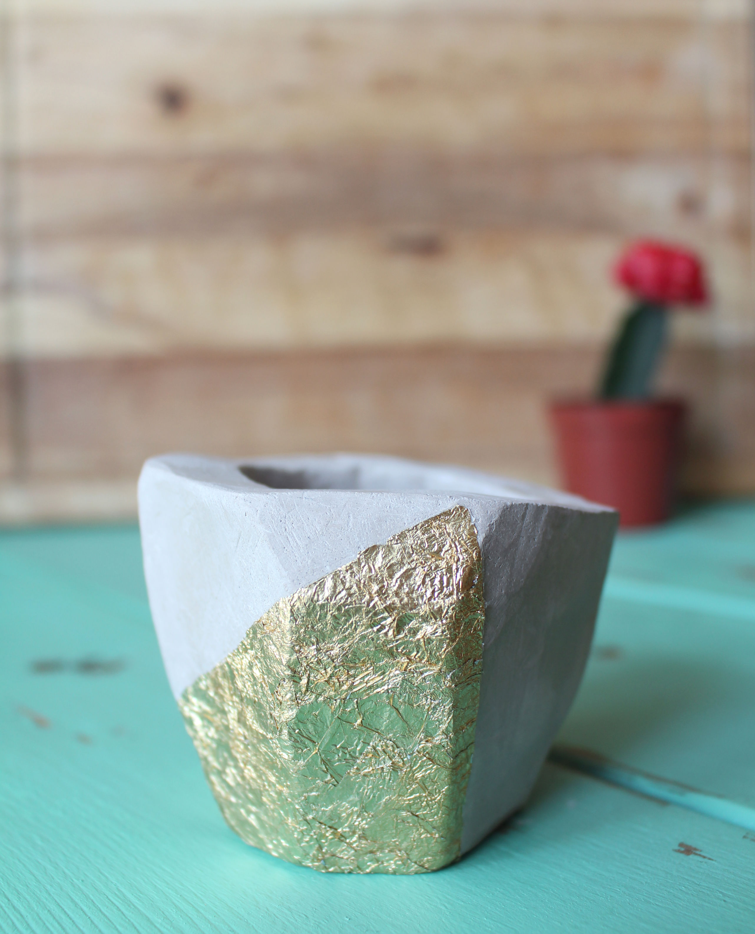 DIY Clay Planter with gold leaf