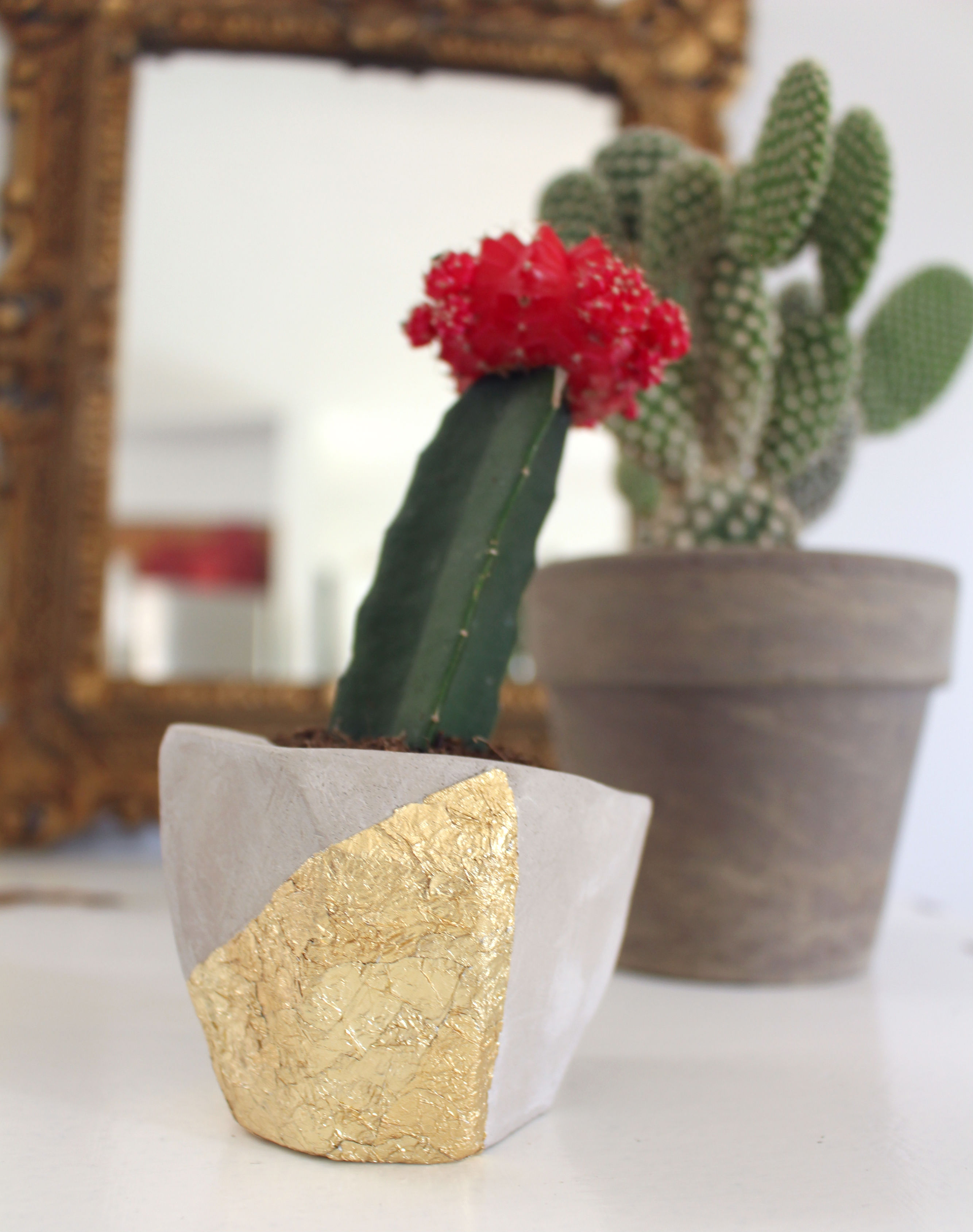 DIY Clay Planter Using Gold Leaf