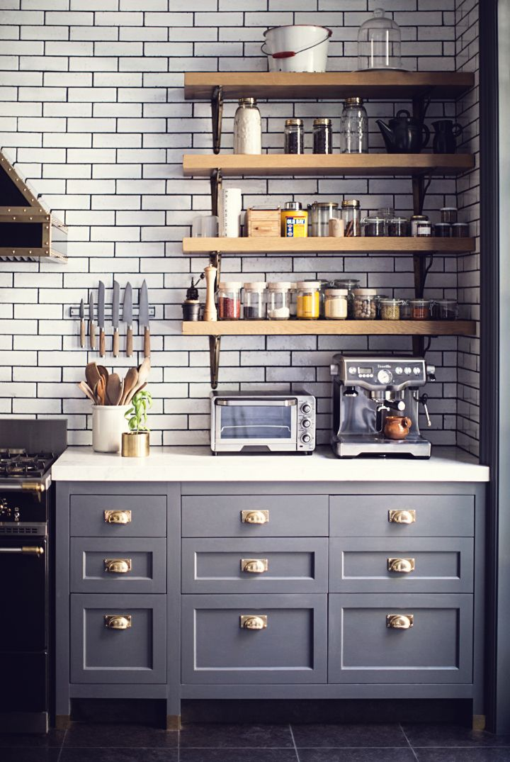 Gray Kitchen Cabinets White Subway Tile
