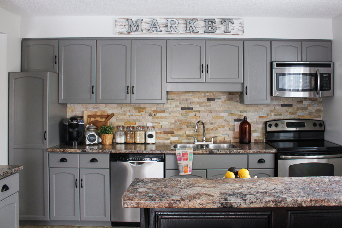 Our kitchen cabinet makeover kassandra dekoning for Kitchen ideas with grey cabinets